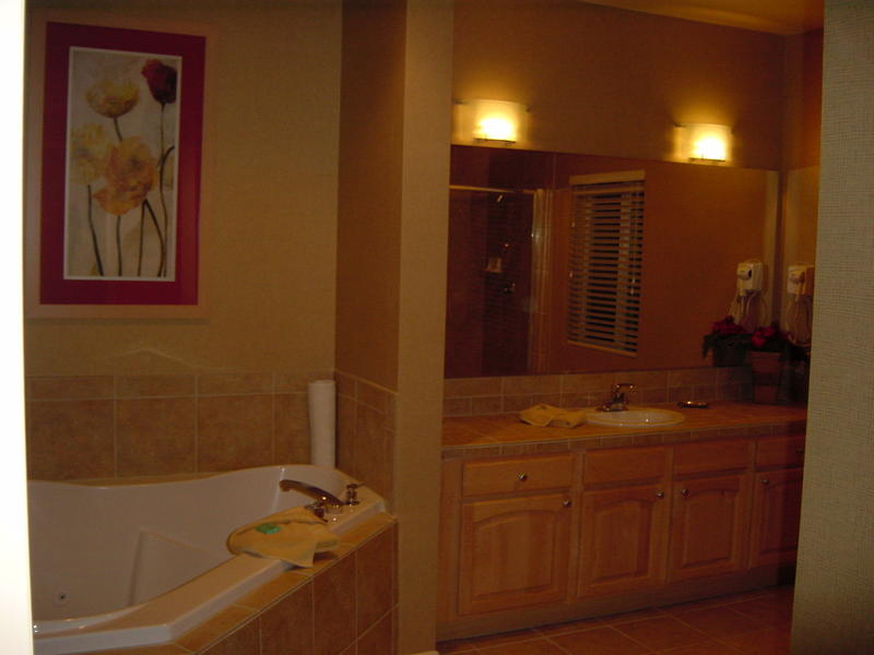 The master bathroom, complete with jetted tub. Roughing it, indeed.